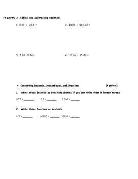 Fractions and Decimals Assessment Grade 5