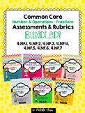 Fractions and Decimals Assessments & Rubrics BUNDLED! {4.NF.1 - 4.NF.7}