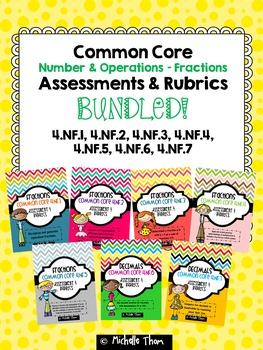 Fractions and Decimals Assessments & Rubrics BUNDLED! {4.NF.1 - 4.NF.7}