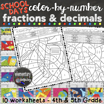 Fractions and Decimals Color by Number Activity Sheets School Days Theme