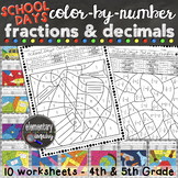 Fractions and Decimals Color by Number Activity Worksheets School Days Theme