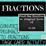 Converting Fractions Decimals Activity  Task cards