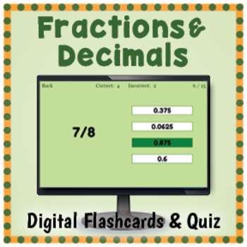 DIGITAL Fractions and Decimals Flashcards and Quiz