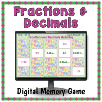 Fractions and Decimals Digital Memory Game