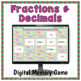DIGITAL Fractions and Decimals Matching Game