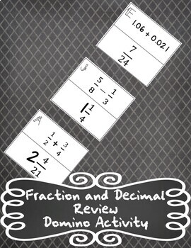 Fractions and Decimals Domino Activity