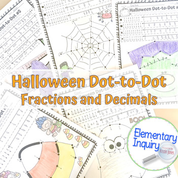 Fractions and Decimals Dot-to-Dot Halloween Math Activity Worksheets