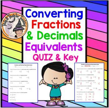 Fractions and Decimals Equivalents Equivalency Converting QUIZ