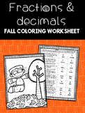 Fractions and Decimals Fall Coloring Worksheet