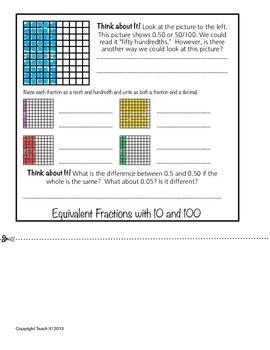 Fractions and Decimals Flipbook