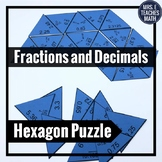Fractions and Decimals Hexagon Puzzle