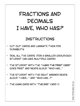 Fractions and Decimals: I Have, Who Has