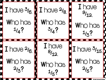 "Fraction and Decimal ""I Have, Who Has"" games"