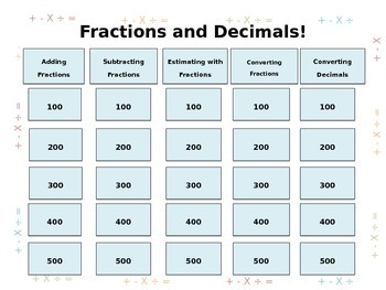 Fractions and Decimals Jeopardy