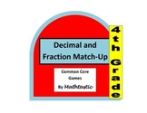 4th Grade Decimals and Fractions Match-up Game for Common Core