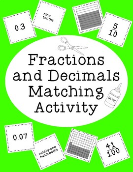Fractions and Decimals Matching Activity Tenths and Hundredths Cutting Gluing