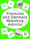 Fractions and Decimals Matching Activity Bulletin Board Cutting Gluing