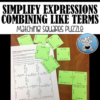 Combining Like Terms Matching Squares Puzzle!