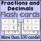 Fractions and Decimals Math Flash Cards Common Core {4th Grade}