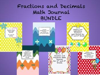 Fractions and Decimals Math Journal BUNDLE