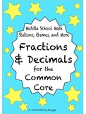 BUNDLE Fractions and Decimals Math Stations for Common Core Sixth Grade