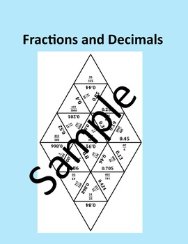 Fractions and Decimals – Math puzzle