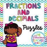 Fractions and Decimals Math Puzzles