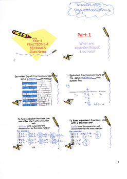 Fractions and Decimals Power Point Handwritten Solutions