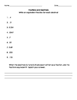 Fractions and Decimals Practice Worksheets