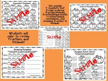 Fractions and Decimals Pumpkin Math