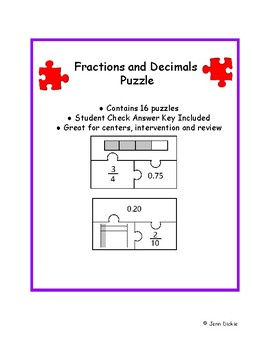Fractions and Decimals Puzzle