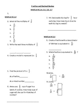 Fractions and Decimals Review
