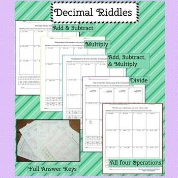 Math  Riddles Bundle: Fractions and Decimals