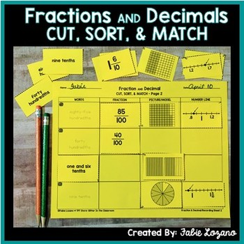 Fractions and Decimals Sort