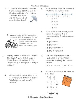 Fractions and Decimals NO PREP Print & Go