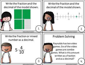 Go Math Grade 4 Chapter 9 Fractions and Decimals Task Card Game