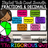 Distance Learning Fractions and Decimals Task Cards Digita