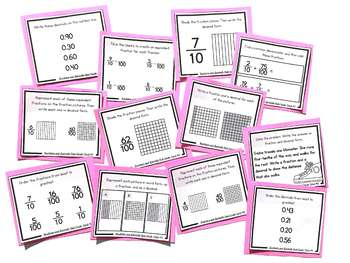 Fractions and Decimals Task Cards | Fraction Practice