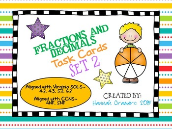 Fractions and Decimals Task Cards Set 2