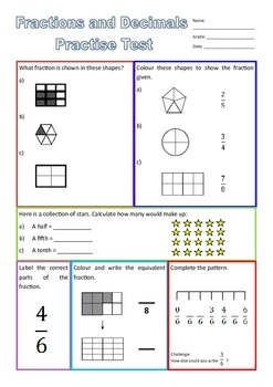 Fractions and Decimals Test