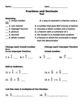 Fractions and Decimals Test - Upper Elementary