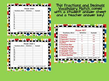 Fractions and Decimals Vocabulary Match