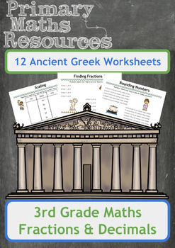 Fractions and Decimals Worksheets with an Ancient Greek Theme for 3rd Grade