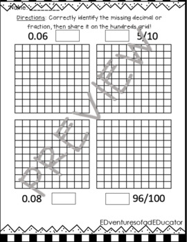 Fractions and Decimals on Hundreds Charts