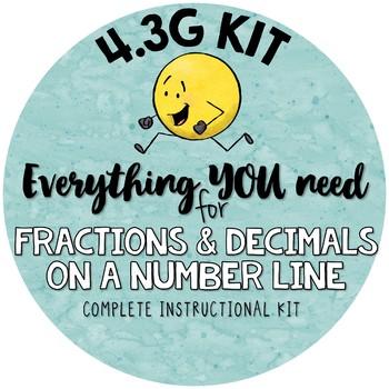 Fractions and Decimals on a Number Line TEKS 4.3G - Complete Kit