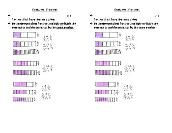 Fractions and Equivalent Fractions Interactive Notebook