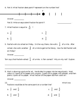 Fractions and Equivalent Fractions Worksheet