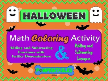 Fractions and Integers - Halloween Math Coloring Pictures- 2 Activities