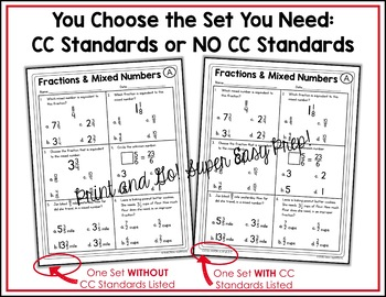 Improper Fractions and Mixed Numbers Worksheets