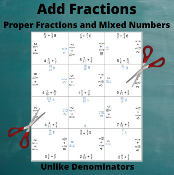 Fractions and Mixed Numbers Addition Puzzle : Un-Like Denominators